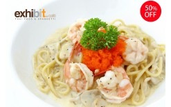 Special offer! Only 149BHT for a fusion Thai food and delicious spaghetti in a trendy atmosphere surrounded by various style art masterpieces at Exhibit Cafe' Thai Food & Spaghetti (from the normal price of 300BHT)